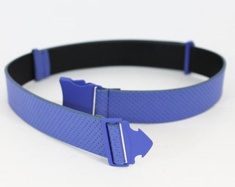 One size fits all cobalt blue perforated belt with seat-belt buckle