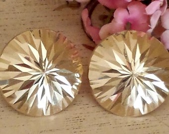 """Vintage 14k starburst Earrings 14k Gold  Sunburst Earrings 1"""" Diameter"""