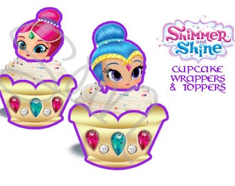 SALE 90% off Genie Digital Download or Printed and cut-Shimmer and Shine Cupcake wrappers and toppers printable