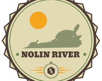 Nolin River Paddle Badge Decal, Kayak Art, Canoe Decal, Adventure Stickers, Kentucky Stickers
