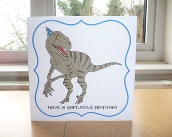"""Awesome Velociraptor Dinosaur """"Have a Rapturous Birthday!"""" 6x6"""" Square Birthday Greetings Card With Envelope"""