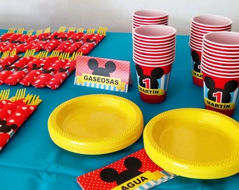 Mickey Mouse Birthday party decoration package dots and stripes