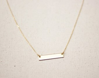 Bar Necklace / Dainty Horizontal Gold Bar Necklace / Minimal Layering Necklace