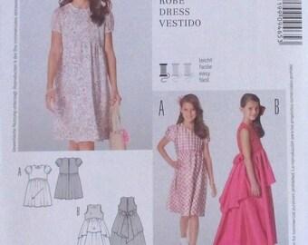 Burda Kids pattern, girls dress, layered dress with flounce, ankle length, knee length dress, size 7, 8, 9, 10, 11, 12