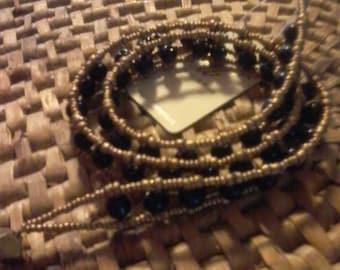 Three wrap beaded bracelet