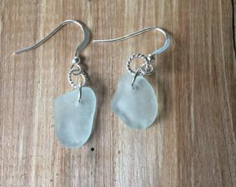 Sterling Silver Pale Aqua Sea Glass Earrings