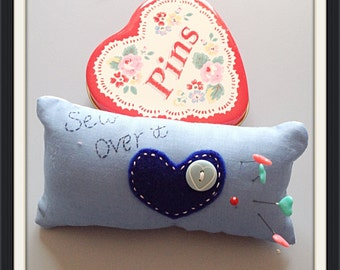 Sew Over It pincushion in blue