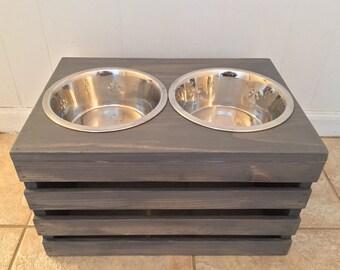 Wine Crate Dog Feeder | Large Dog Feeder | Wooden Dog Feeder | FREE SHIPPING (East Coast Additional)