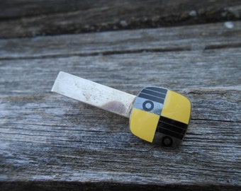 Vintage Black & Yellow Enamel Tie Clip, 1970's.  Men, Groomsmen Gift, Dad.