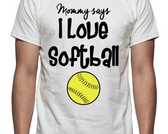 I Love Softball Tee Shirt Design, SVG, DXF, EPS Vector files for use with Cricut or Silhouette Vinyl Cutting Machines