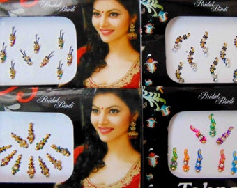 36 bindis - 4 bindi packs designer bollywood bindis / belly dance bindis / bindi stckers, body art tattoos