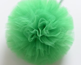 Dark green / holiday green tulle pompom / wedding party decorations pom poms