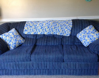 Pillows, afghan, sheets, linens, furniture, hypo-allergenic, home decor, shower gift, housewarming, sofa, chair, home living, country blue