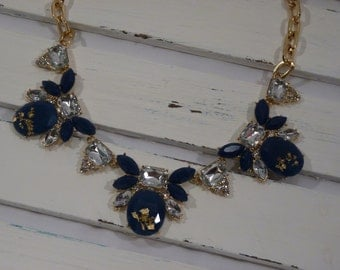Navy Blue, Silver, and Gold Modern Statement Necklace