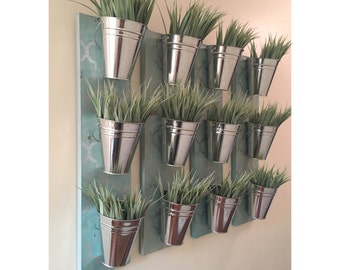 Indoor Wall Planter- Blue (one row of 3 pots)