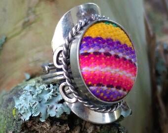 SALE 20% Off Multicolor Peruvian Blanket / Textile Adjustable Ring