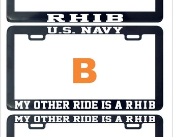RHIB my other ride is assorted funny humor license plate frame holder tag