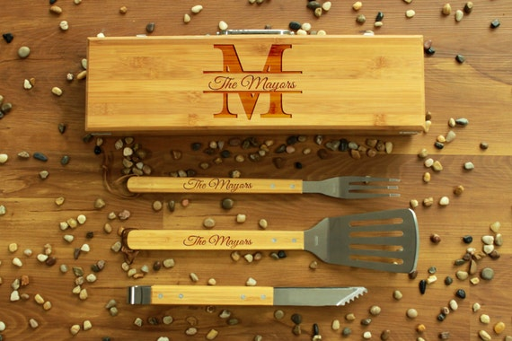 Personalized Bbq Set, Personalized Bbq Utensils, Custom Bbq Set, Custom Bbq Utensils, Barbecue Utensils, Gifts for Dad --BBQ-BOXSET-Mayors