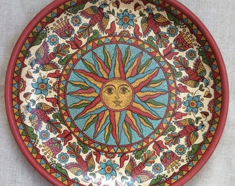 """Russian folk art.Wooden painted collectible plate, ancient Russian style, """" Sun"""""""