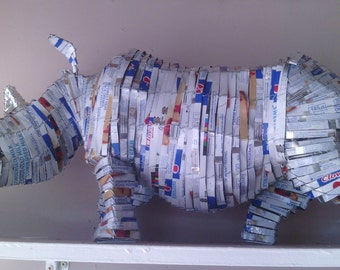 Rhino decoration - 100% recycled materials handmade in South Africa