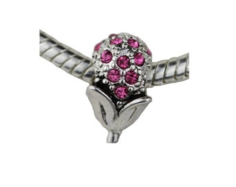 Pink Crystals Silver Plated charm  fits PANDORA bracelets