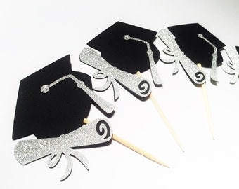 Graduation 2016 party cupcake toppers graduation cap and scroll black and silver party decor schools out graduate party passed the test