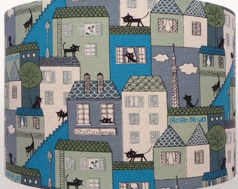 Black cat  Fabric cocoland blue,  kitties houses, cats  Lampshade Table, ceiling