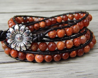 Leather Wrap Bracelet Fire agate wrap bracelet Bohemian bracelet Yoga BOHO bead bracelet yoga wrap bracelet Gemstone beads bracelet SL-146
