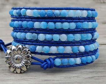 wrap bracelet gemstone bracelet blue beads wrap bracelet leather wrap bracelet boho beaded bracelet yoga bracelet Jewelry SL-205