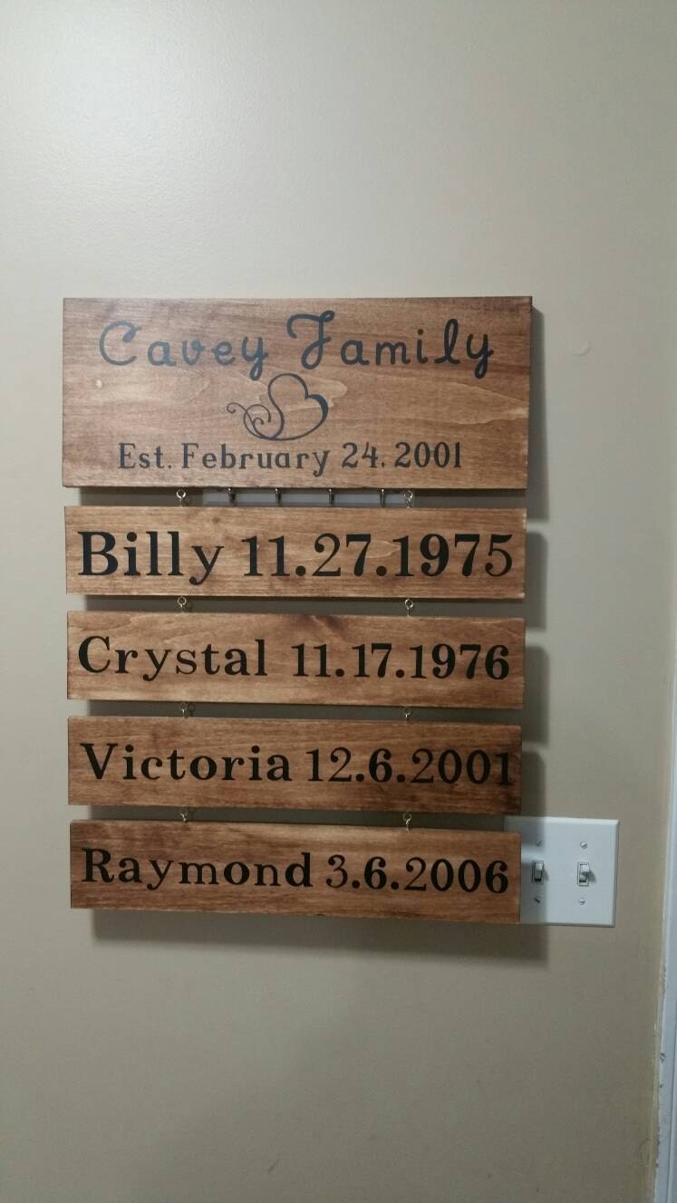 Personalized family name sign, important dates, family sign with ...