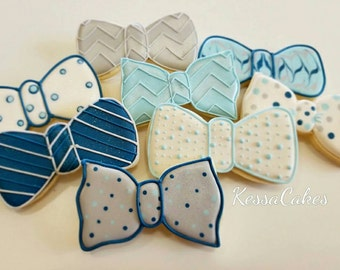 Bow tie cookies, royal icing sugar cookies , boy baby shower, boys baptism cookies , baby boy birthday party,father's day