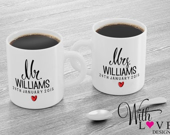 Set Of Two Mr & Mrs Bride and Groom Husband Wife Coffee Mug Tea Cup Personalised Custom Wedding Present Gift