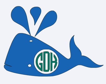 Whale Decal, whale, southern decal, decal, vinyl , iron on, monogrammed, initials, whale monogram, shirt, tee, boys, girls, kids, beach