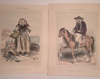 Old Prints, Galerie Armoricaine, After Lalaisse, Traditional Costumes Bretagne, Two Prints And Frames.
