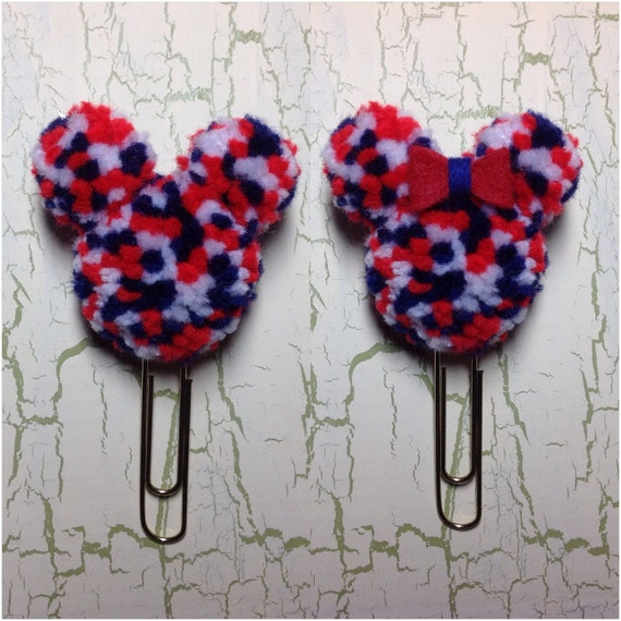 Patriotic Mickey & Minnie Mouse Pom Pom Planner Clips
