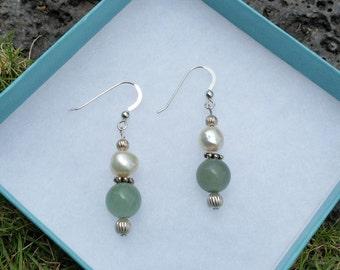 Aventurine and Freshwater Pearl Earrings
