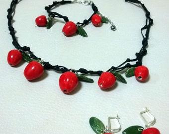 "Jewerly set ""Apple tree"". Комплект ожерелье,  браслет и серьги ""Молодильные яблочки"""