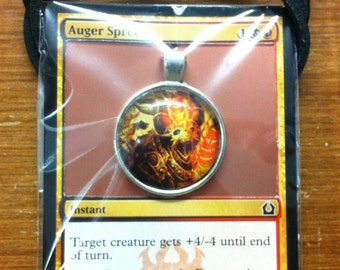Auger Spree - MtG Necklace Made from Actual Card