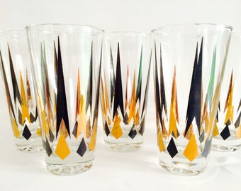 Mod Atomic Gold-and-Black Highball Glasses, Set of Five