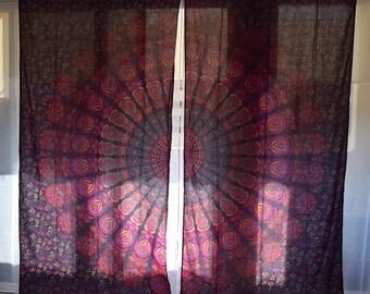 Mandala Tapestry Curtains, Boho Window Treatments, Boho Curtains, Tapestry  Drapes, Mandala Wall