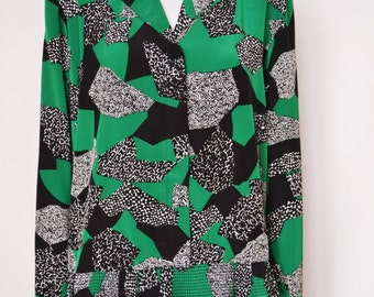 Vintage Green and Black Blouse by Jacques Vert Size 10