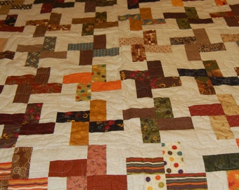 Quilt Brown Cream Scrappy Earth Tone Full Size