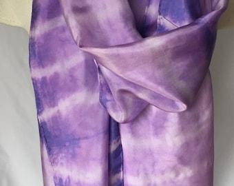 Purple and White Silk Scarf, Purple and White Scarf, Summer Scarf, Spring Scarf, Silk Scarf
