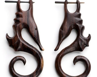 Sea Horse Wooden Fake Gauges Post Earrings