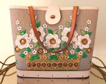 """SALE - Enid Collins """"Flower Basket V"""" Purse"""