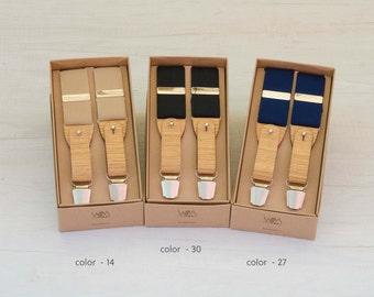 Unisex adjustable length suspenders with oak wood inserts-unisex suspender adjustable length with Oak's Wood inserts