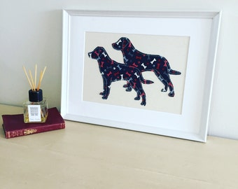Framed dog picture; Fabric picture; Labrador picture; Animal portrait; Animal art; Gift for dog lovers; New puppy gift; Birthday gift; Dogs