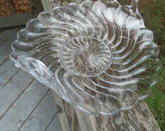 Pressed Glass dish with handles