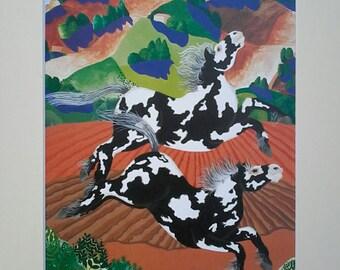 Print;pie 2/horse art/wildlife  art/horses/whimsical art/dancingharepottery/artist design/pony/horse print/piebald horse/horse art