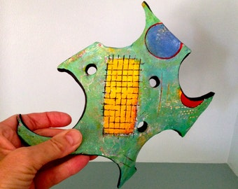 clay sculpture, ceramic art, abstract art, wall art, whimsical art, original design